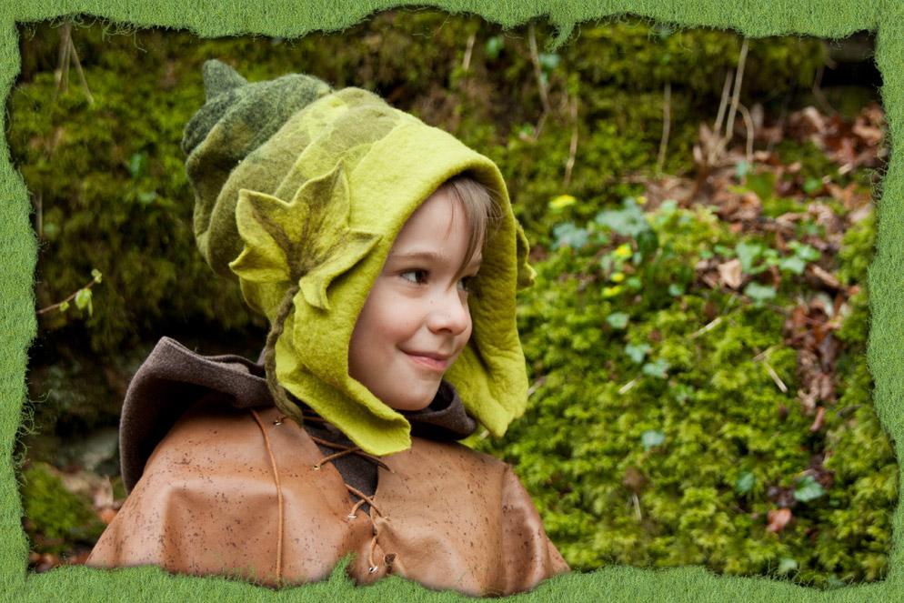 Grüner Elfenhut aus Filz
