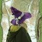 Violetter Hexenhut handgefilzt mit Accessoires
