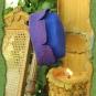 Zinnenhut in violett und blau