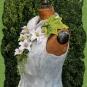 Marmorfarbenes Filzjäckchen mit Blüten und Blättern 2