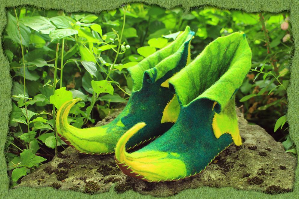 Grün-Gelbe Sommer-Elfenschuhe