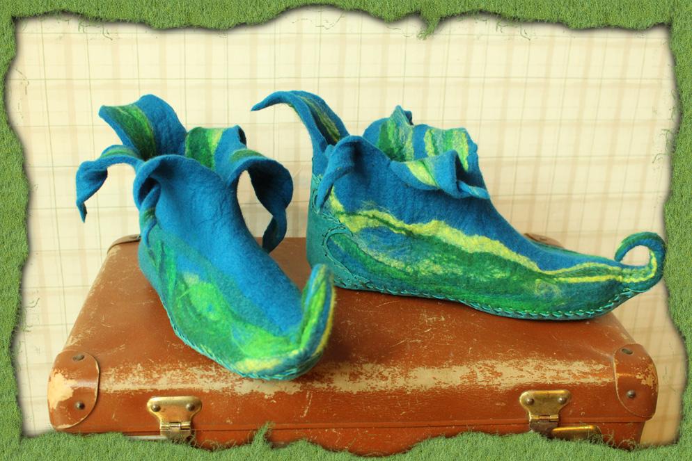 Blaue Elfen-Filzschuhe 2