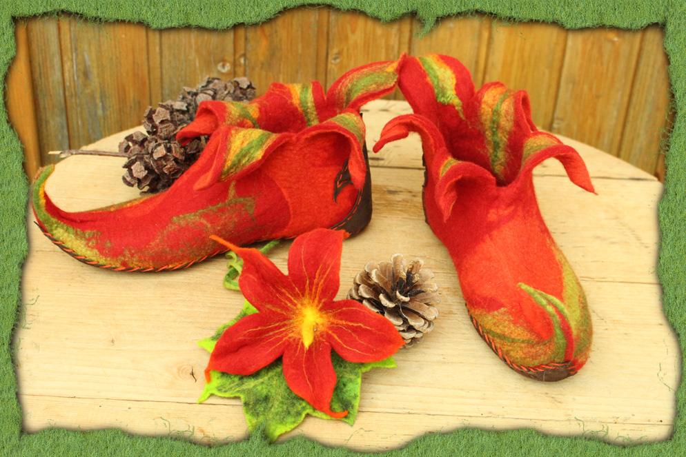 Rote Elfen-Filzschuhe