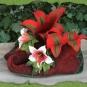 Weinrote Elfenschuhe mit Blüten 3