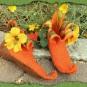 Orange Elfenschuhe mit gelben Blumen