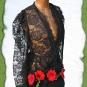 Schwarze Tasche mit roten Mohnblumen